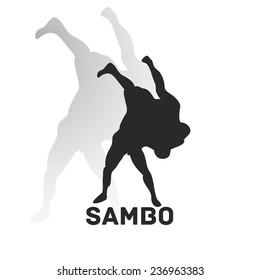 Fight style illustration. Sambo Theme. Vector pic.