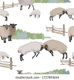 Fight of two rams and a small flock of sheep on the background of copses. Textile composition, template for the design of print, advertising, fabric, wallpaper and boxes.