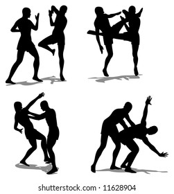 fight vector silhouette