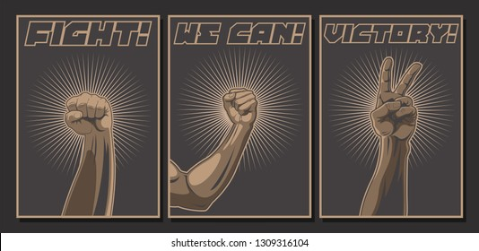 Fight! We can! Victory! Protest Propaganda Posters Set