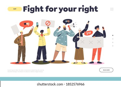 Fight for your rights landing page concept with protesting people group. Crowd with placards during demonstration or strike. Cartoon men and women at political meeting. Vector illustration