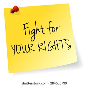 Fight For Your Rights Yellow Stick Note Paper Vector