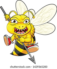 fighter angry bee holding spear