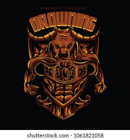 Fighter Bull Illustration