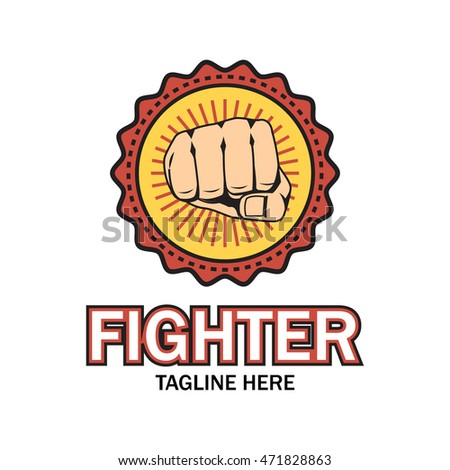 Fighter Emblem Martial Art Logo Template