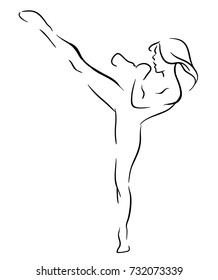 Fighter girl outline. Beautiful girl kicking with the leg