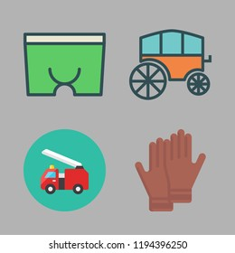 fighter icon set. vector set about boxer, fire truck, gloves and chariot icons set.