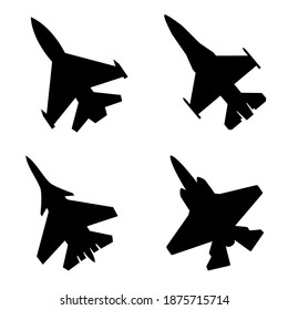 Fighter jet icon vector set. air Force illustration sign collection. aviation symbol.