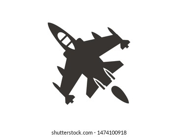 Fighter jet plane. Simple icon in black and white.