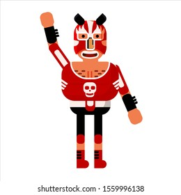 Fighter Lucha Libre Mexican Wrestler Battle Acrobat Character. Vector Illustration Flat Cartoon Isolated