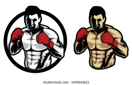 Fighter martial logo vector template