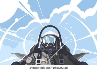 Fighter pilot in cockpit. Combat aircraft on mission. Vector illustration