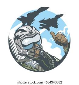 Fighter Pilot in cockpit and two jet fighters. Emblem, t-shirt design. Vector illustration.