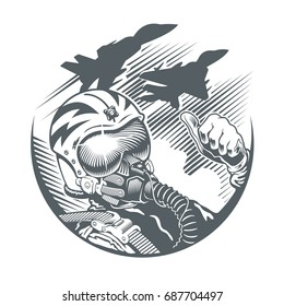 Fighter Pilot in cockpit and two jet fighters. Emblem, t-shirt design. Vector black and white illustration.