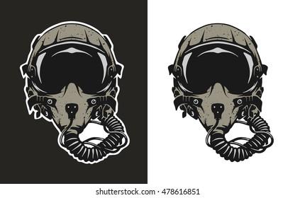 Fighter Pilot Helmet, for dark and white background.