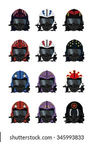 fighter pilots helmet designs with call signs. vector set