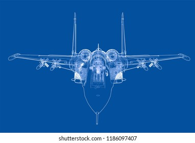Fighter plane concept. Vector rendering of 3d. Wire-frame style. The layers of visible and invisible lines are separated