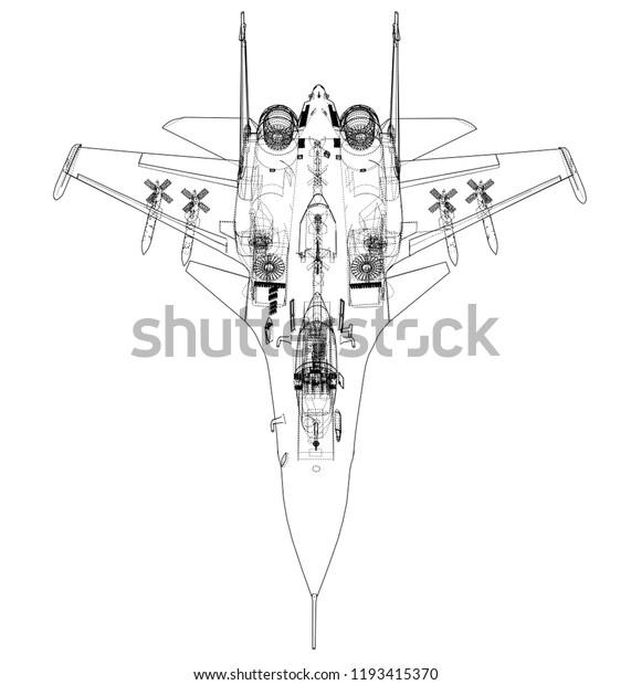 Fighter Plane Concept Vector Rendering 3d Stock Vector
