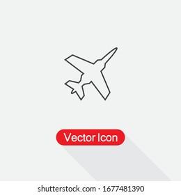 Fighter Plane Icon, Plane Icon Vector Illustration Eps10