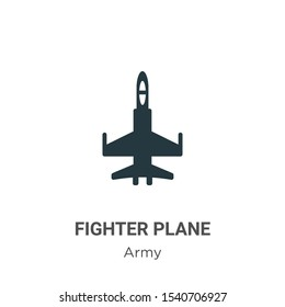 Fighter plane vector icon on white background. Flat vector fighter plane icon symbol sign from modern army collection for mobile concept and web apps design.