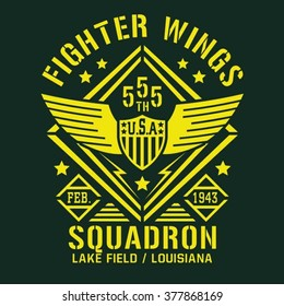 Fighter squadron airforce typography, t-shirt graphics, vectors