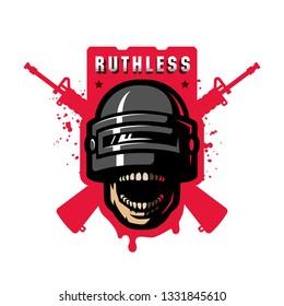 Fighter in a stormtrooper helmet, sport game logo.