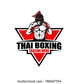 fighter thai boxing logo vector template