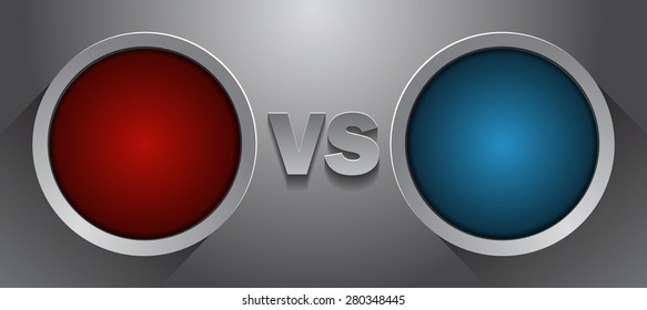 Fighter Versus Screen with Blank Round Frames, Vector Illustration.