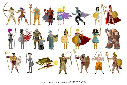 fighters knight warriors wizards man and female powerful characters