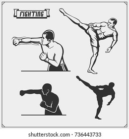Fighters of martial mixed arts. Vector illustration.