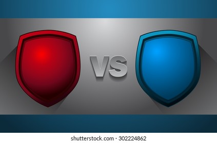 Fighters Versus Screen with Red and Blue Shields, Vector Illustration.