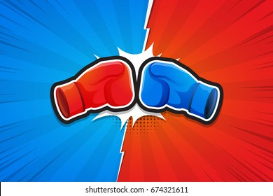 Fighting Background, Boxing Gloves, Versus. Vector illustration