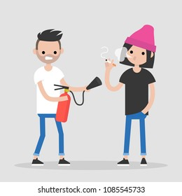 Fighting bad habits. One character extinguishing another's cigarette. Health care. Millennial lifestyle. Flat editable vector illustration, clip art