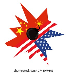 Fighting between USA and China, bomb exploded on china and US national flag. The conflict of two countries. Trade war and current  cold war concept.