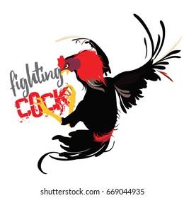 fighting cock, cartoon vector