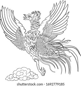 Fighting cock chicken Thai traditional vector illustration for tattoo or printing on white isolated background.game cock is one of the breeds of chicken.