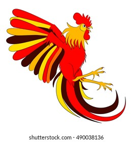 Fighting game Rooster on white background.  New Year Chinese fire zodiac
