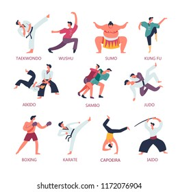 Fighting and martial sport arts. Vector people fight on Japanese taekwondo