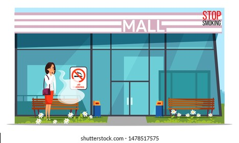 Fighting nicotine addiction banner template. Young woman smoking cigarette in forbidden place near shopping mall cartoon character. Female smoker violating smoking rules in public places