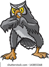 Fighting Owl. A vector cartoon of a Owl ready for a fight.