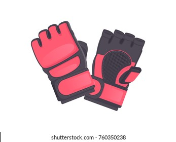 Fighting protection gloves. Vector illustration. MMA red gloves isolated on white background