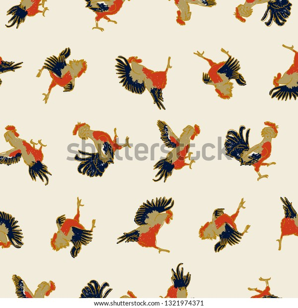 fighting-roosters-seamless-pattern-color