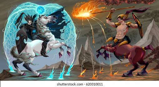 Fighting scene between dark elf and centaur. Fantasy vector illustration