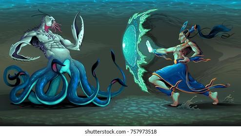 Fighting scene between elf and sea monster. Fantasy vector illustration