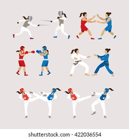 Fighting Sports Athletes, Women Set, Combat Sports, Boxing, Fencing, Wrestling, Taekwondo, Judo