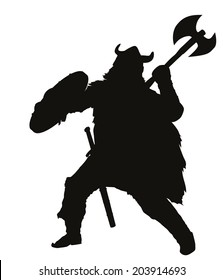Fighting viking detailed vector silhouette. EPS 8