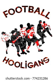Fighting young street hooligans against a white background