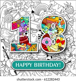 "Figure 18 on the background. banner ""Happy Birthday"". vector illustration."