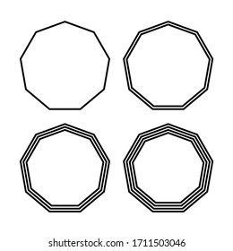 Figure 4 nonagon shapes with different number of lines.