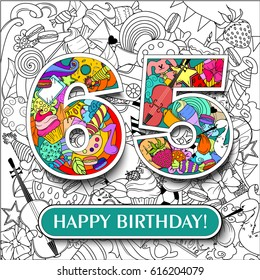 """Figure 65 on the background. banner """"Happy Birthday"""". vector illustration."""